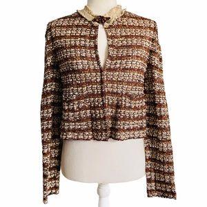St. John Couture Vtg Metallic Ribbon Weave Jacket